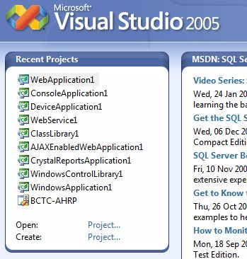 Visual Studio Recent Project List